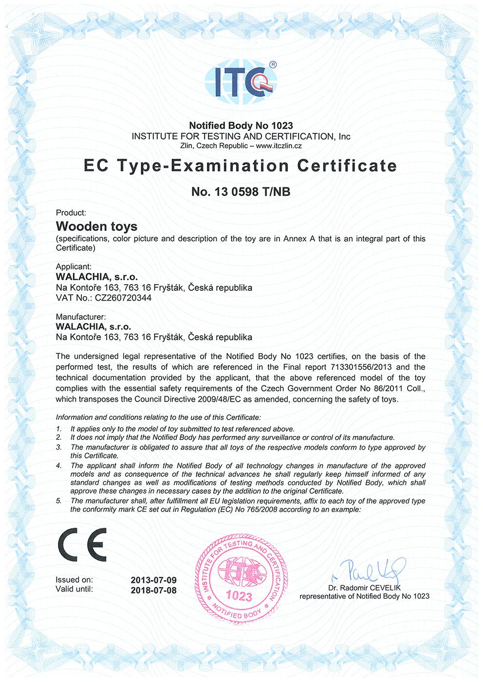 EC type examination certificate