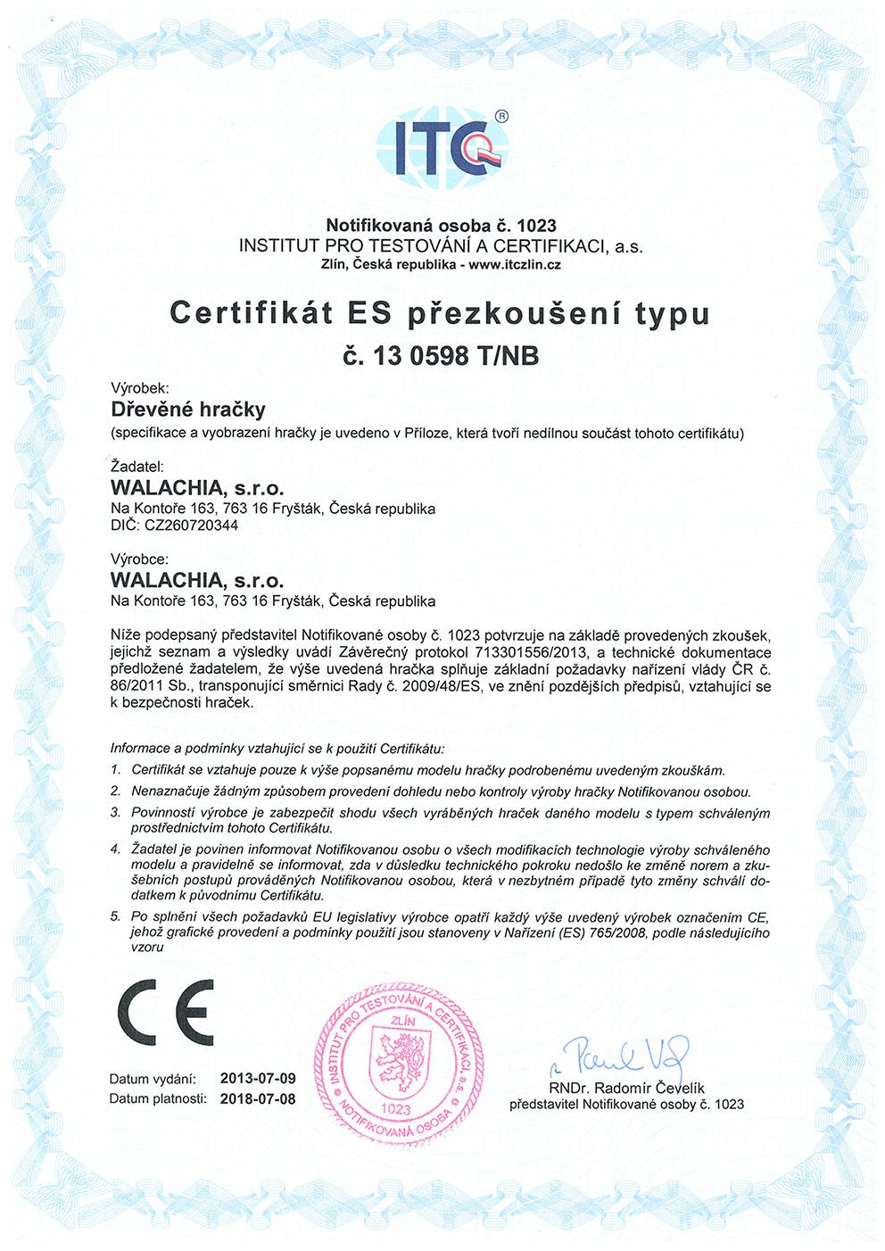 Certifikát ES přezkoušení typu